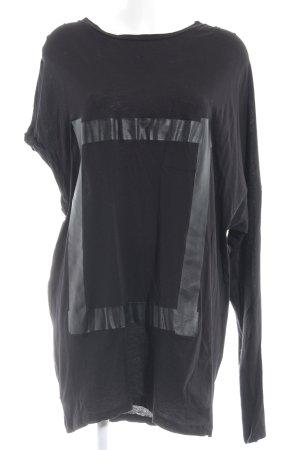 Avelon Camicia lunga nero stampa astratta stile stravagante