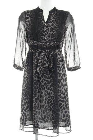 Avenue Foch Blusenkleid schwarz-graubraun Leomuster schlichter Stil