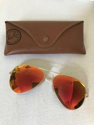 Ray Ban Pilotenbril rood-goud