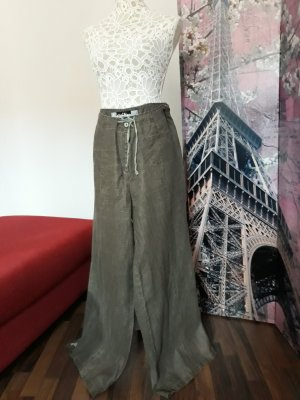 Avitano Pantalone di lino marrone-grigio-grigio-verde Lino