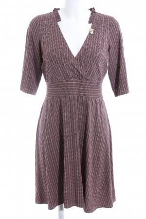 Avoca Stretch Dress brown-white striped pattern business style