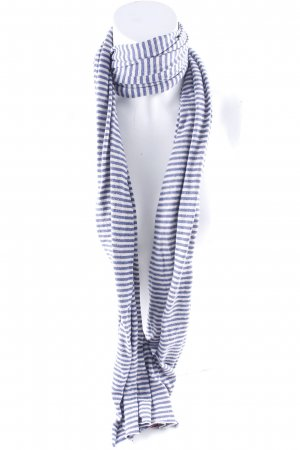 Avoca Knitted Scarf cream-blue striped pattern athletic style