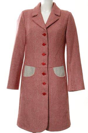 Avoca Wollen jas rood-wit gestippeld patroon extravagante stijl