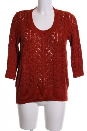 Awear Knitted Sweater red cable stitch casual look