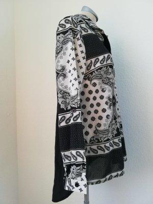 Ax Langarmbluse Langarm Bluse Grafik schwarz weiß Gr. UK 12 EUR 40 Top Oberteil
