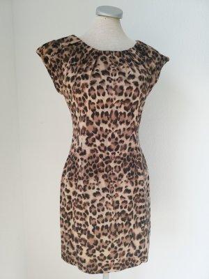 Ax Leo Leoparden Kleid Gr. UK 8 EUR 36 Rockabilly gerafft Minikleid Baumwolle braun mini kurz