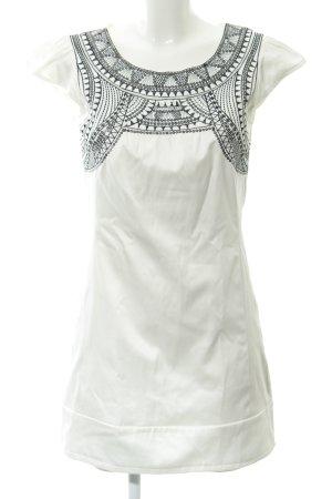 AX Paris Vestido ceñido de tubo blanco-negro estampado con diseño abstracto