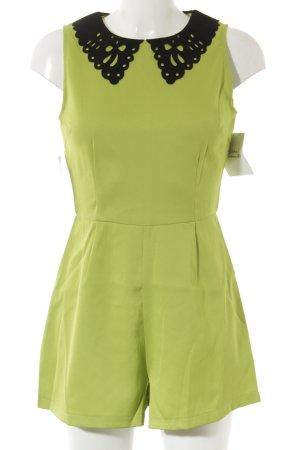 AX Paris Combinaison jaune citron vert-noir style décontracté