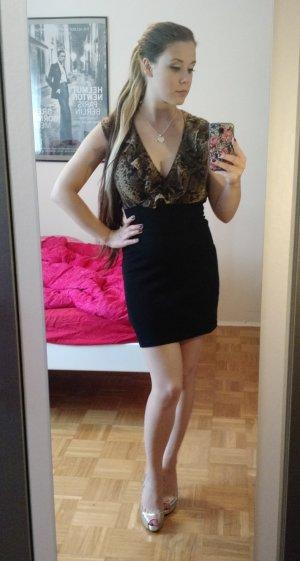 AX Paris Kleid Gr. 36 S schwarz schlangen muster sexy rüschen blogger
