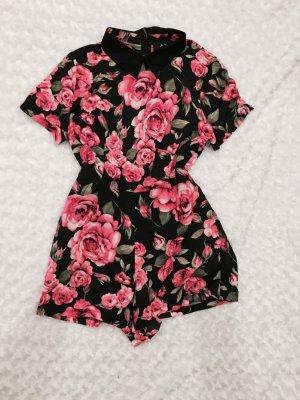 AX Rosen Jumpsuit Black Pink Neon Rosen Playsuit Einteiler Onepiece Anzug