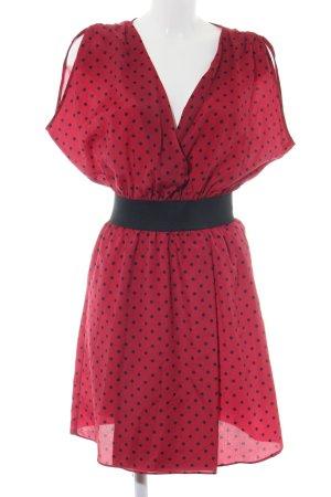 Axara Robe à manches courtes rouge-noir motif de tache style décontracté