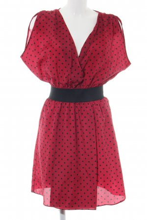 Axara Kurzarmkleid rot-schwarz Punktemuster Casual-Look