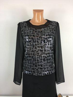 Axara Paris Pailletten Bluse Oberteil Hemd Gr. 36 schwarz