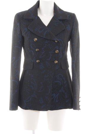 Axara Manteau mi-saison noir-bleu imprimé allover style d'affaires