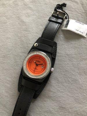 Axcent of Scandinavia Horloge met lederen riempje zwart-oranje Edelstaal