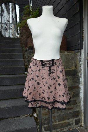 Gelaagde rok zwart-stoffig roze