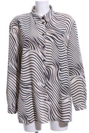 AZ Modell Langarm-Bluse wollweiß-schwarz abstraktes Muster Casual-Look