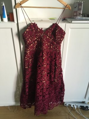 Azaelea lace Midi Kleid in Burgundy rot von Self Portrait