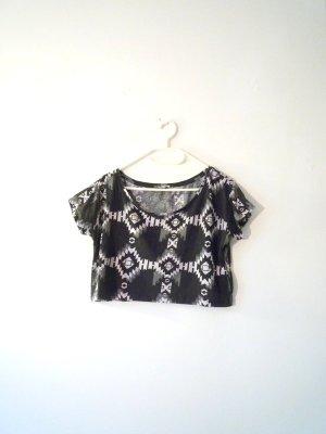 *Aztek* Etho-Crop-Top, schwarz & grau, Gr. M