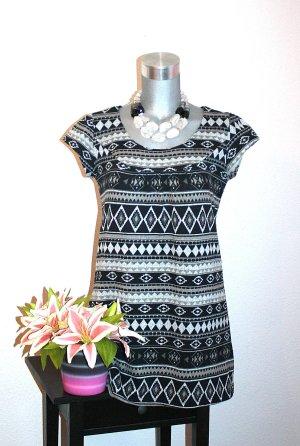Aztek Tunika gr.38/40 LongTop Top Shirt Schwarz Grau