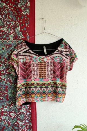 Azteken Crop Top / Neon / Festival Shirt / Goa / Hippie / Sommer