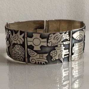 Azteken Maya Mexico 3D Manschette Armband Armreif Sterlingsilber Silber Etno Vintage