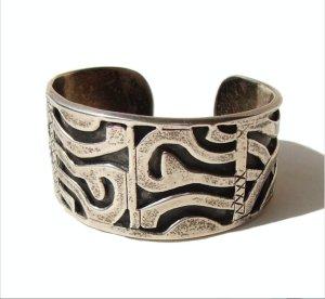 Azteken Mexico 3D Manschette Armband Armreif Sterlingsilber Silber Etno Vintage
