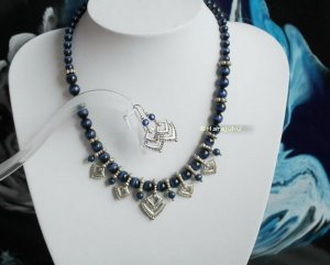 Aztekenmuster Schmuck Set lapisfarben Collier Ohrringe Blue Cats Eye