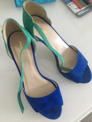 Sandales à lanière bleu-turquoise daim