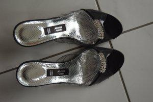 Sandalo con tacco nero-argento