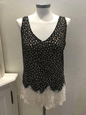 Camiseta negro-beige tejido mezclado