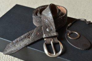 B.BELT Gürtel Gr.95 Grau weiches Leder Sterne Metall Ledergürtel Etikett B Belt bbelt