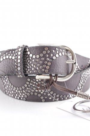 B Belt Leather Belt grey-silver-colored spot pattern Boho look