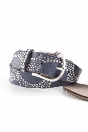 B Belt Leather Belt slate-gray-silver-colored spot pattern Boho look