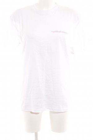 B&C collection T-shirt blanc-rose lettrage imprimé style décontracté