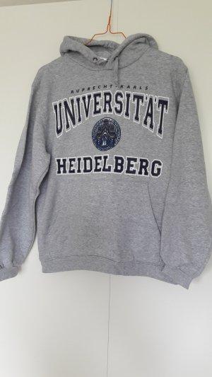 B&C Sweatshirt mit Kapuze und Print grau Collegelook Gr. XS