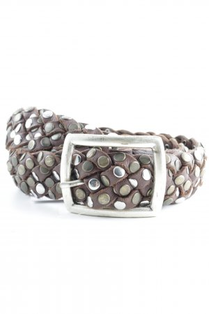 B. Jungle Leather Belt brown cable stitch street-fashion look