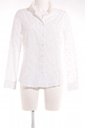 B. M. Company Langarm-Bluse wollweiß Punktemuster klassischer Stil