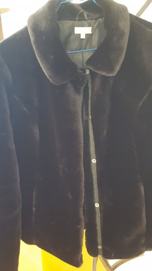 Chaqueta de piel negro tejido mezclado
