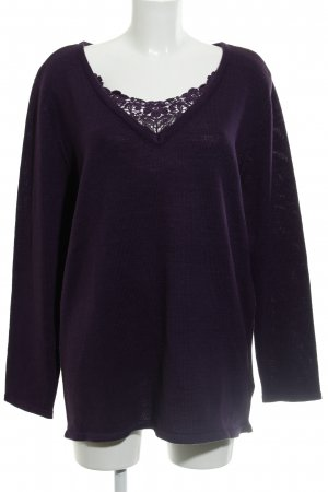b.p.c. Bonprix Collection Maglione lavorato a maglia viola scuro motivo floreale