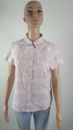b.p.c. Bonprix Collection Short Sleeved Blouse white-light pink cotton