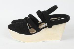 Plateauzool sandalen zwart Suede