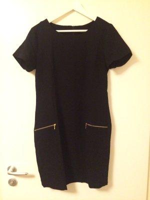 b.young schwarzes Kleid mit goldenen Reißverschluss-Details Gr. 38