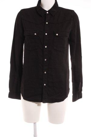Ba&sh Hemd-Bluse schwarz Schriftzug gestickt Casual-Look