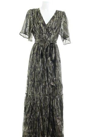 Ba&sh Maxi Dress gold-colored-black striped pattern extravagant style