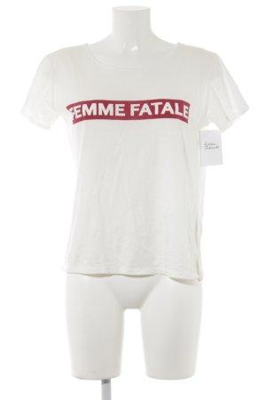 Ba&sh T-Shirt wollweiß Schriftzug gedruckt Casual-Look
