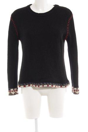 Ba&sh Wollen trui zwart-karmijn Azteken patroon country stijl