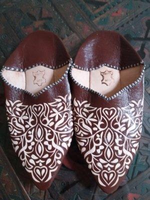 Heel Pantolettes brown-cream