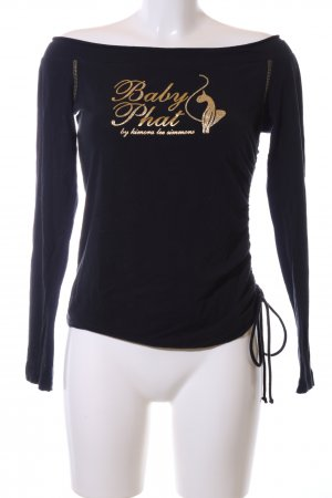 Baby Phat Longsleeve black-gold-colored themed print casual look