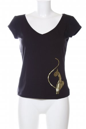 Baby Phat T-Shirt black-gold-colored themed print casual look